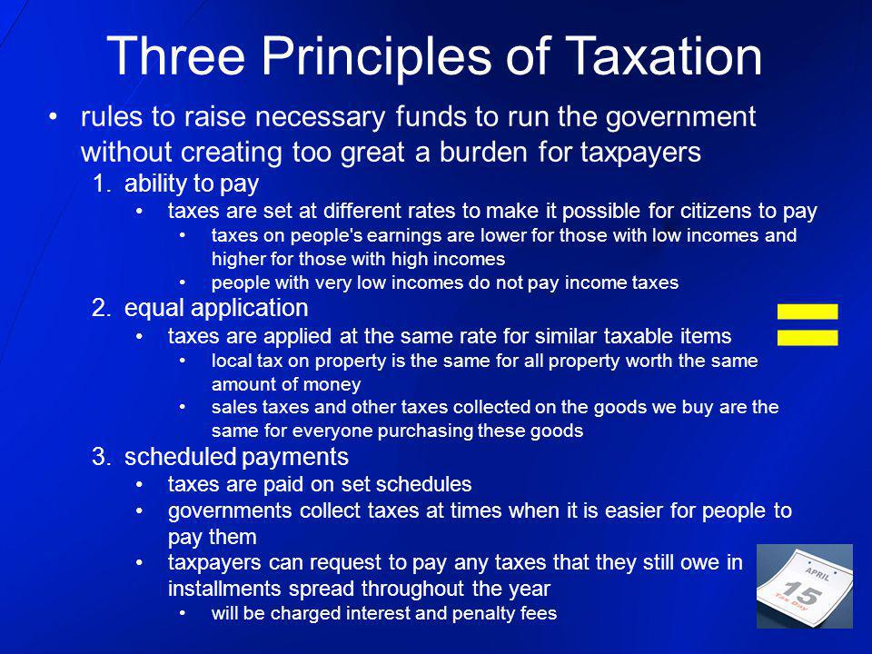 rules to raise necessary funds to run the government without creating too great a burden for taxpayers 1.ability to pay taxes are set at different rates to make it possible for citizens to pay taxes on people s earnings are lower for those with low incomes and higher for those with high incomes people with very low incomes do not pay income taxes 2.equal application taxes are applied at the same rate for similar taxable items local tax on property is the same for all property worth the same amount of money sales taxes and other taxes collected on the goods we buy are the same for everyone purchasing these goods 3.scheduled payments taxes are paid on set schedules governments collect taxes at times when it is easier for people to pay them taxpayers can request to pay any taxes that they still owe in installments spread throughout the year will be charged interest and penalty fees Three Principles of Taxation =