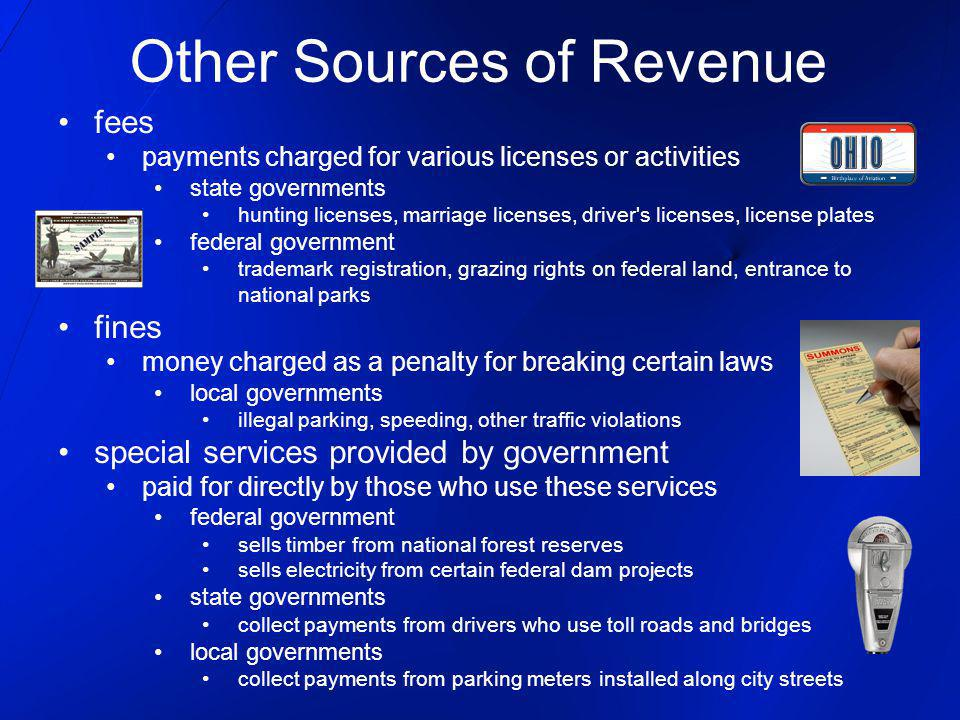 Other Sources of Revenue fees payments charged for various licenses or activities state governments hunting licenses, marriage licenses, driver s licenses, license plates federal government trademark registration, grazing rights on federal land, entrance to national parks fines money charged as a penalty for breaking certain laws local governments illegal parking, speeding, other traffic violations special services provided by government paid for directly by those who use these services federal government sells timber from national forest reserves sells electricity from certain federal dam projects state governments collect payments from drivers who use toll roads and bridges local governments collect payments from parking meters installed along city streets