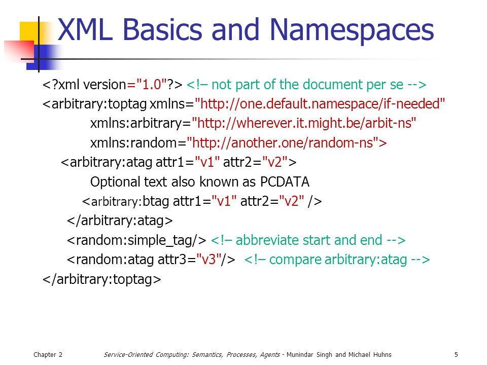 Chapter 25Service-Oriented Computing: Semantics, Processes, Agents - Munindar Singh and Michael Huhns XML Basics and Namespaces <arbitrary:toptag xmlns= http://one.default.namespace/if-needed xmlns:arbitrary= http://wherever.it.might.be/arbit-ns xmlns:random= http://another.one/random-ns > Optional text also known as PCDATA