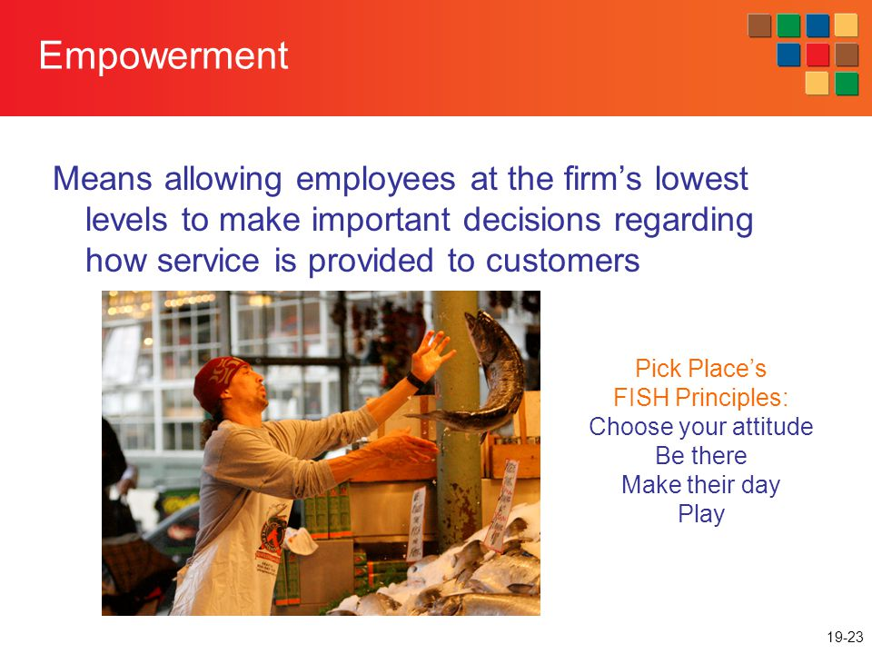 19-23 Empowerment Means allowing employees at the firms lowest levels to make important decisions regarding how service is provided to customers Pick Places FISH Principles: Choose your attitude Be there Make their day Play