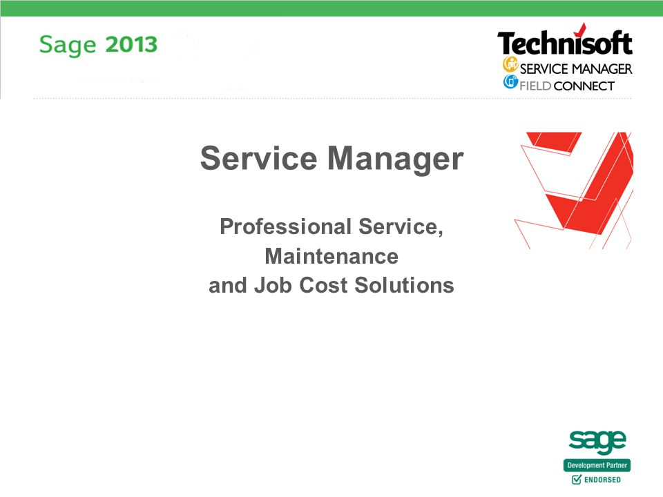 Professional Service, Maintenance and Job Cost Solutions Service Manager