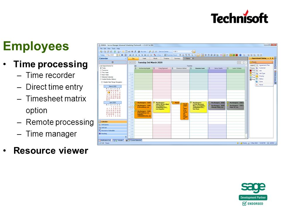 Time processing –Time recorder –Direct time entry –Timesheet matrix option –Remote processing –Time manager Resource viewer