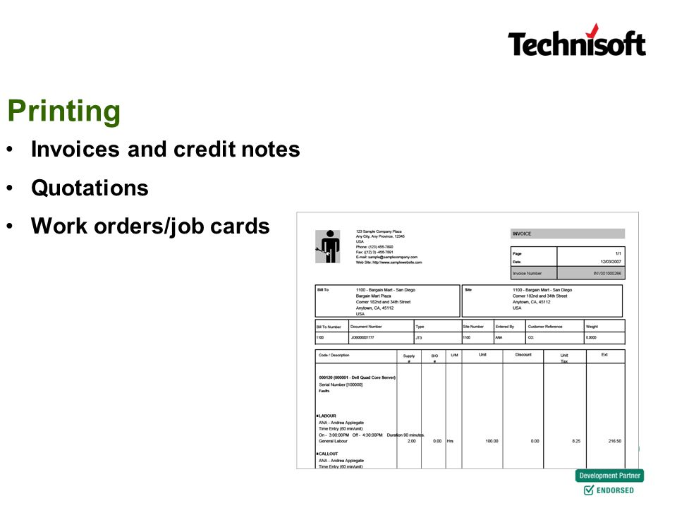 Printing Invoices and credit notes Quotations Work orders/job cards