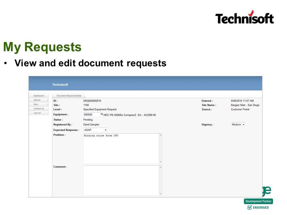 My Requests View and edit document requests