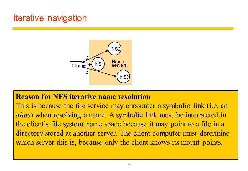 17 Iterative navigation Client 1 2 3 A client iteratively contacts name servers NS1–NS3 in order to resolve a name NS2 NS1 NS3 Name servers Used in: DNS: Client presents entire name to servers, starting at a local server, NS1.