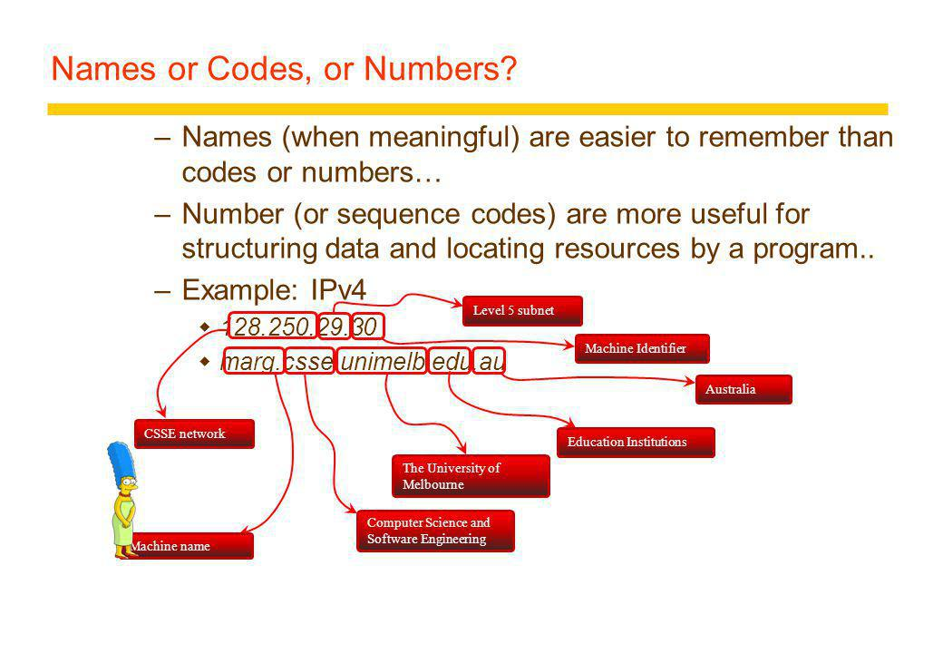 Names or Codes, or Numbers.