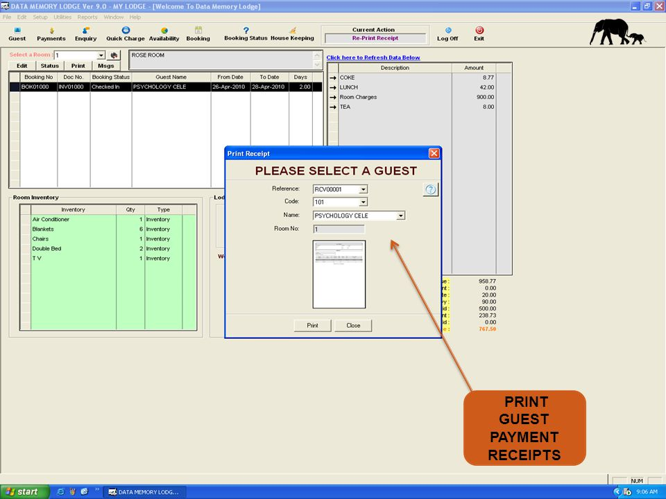 PRINT GUEST PAYMENT RECEIPTS