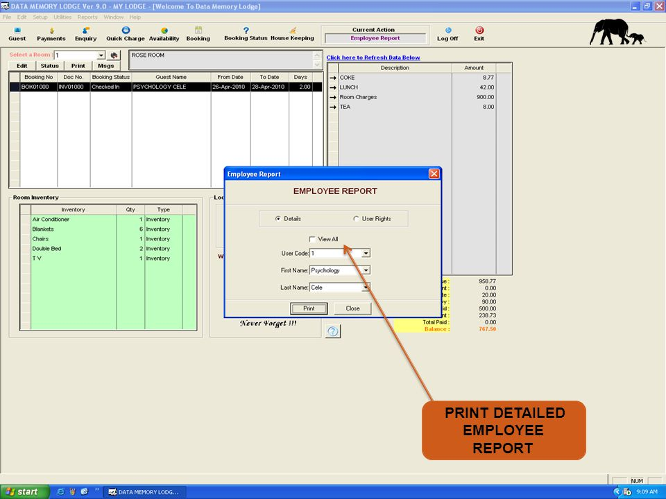 PRINT DETAILED EMPLOYEE REPORT