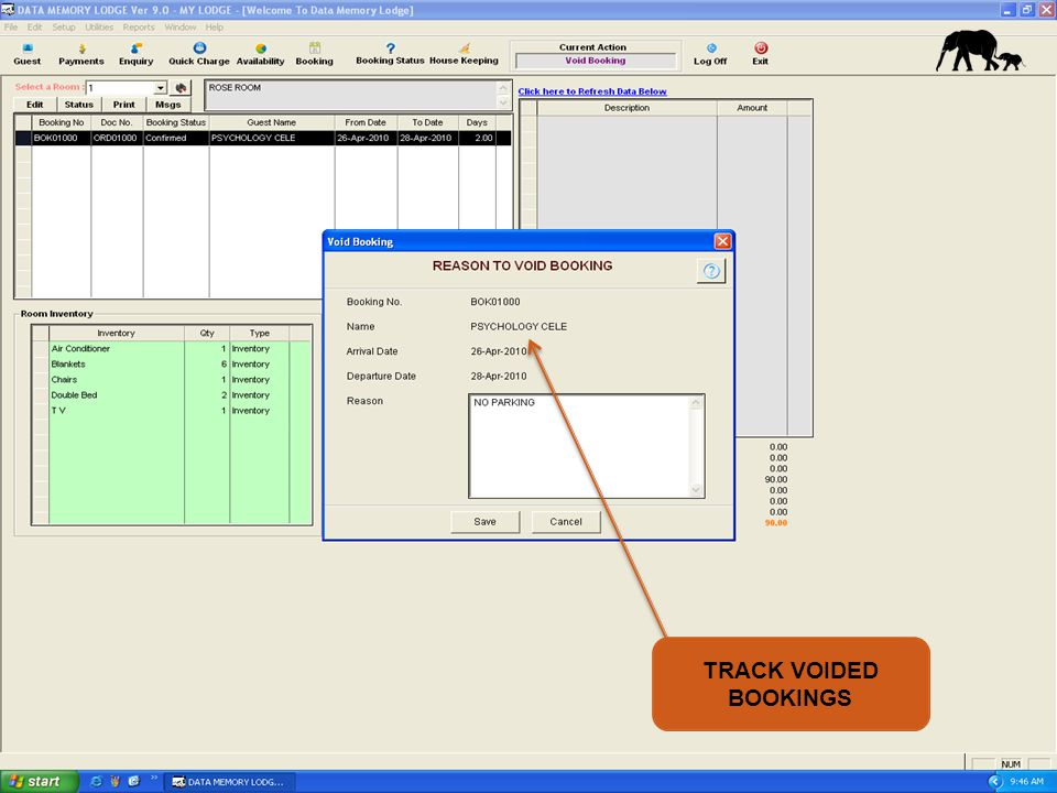 TRACK VOIDED BOOKINGS