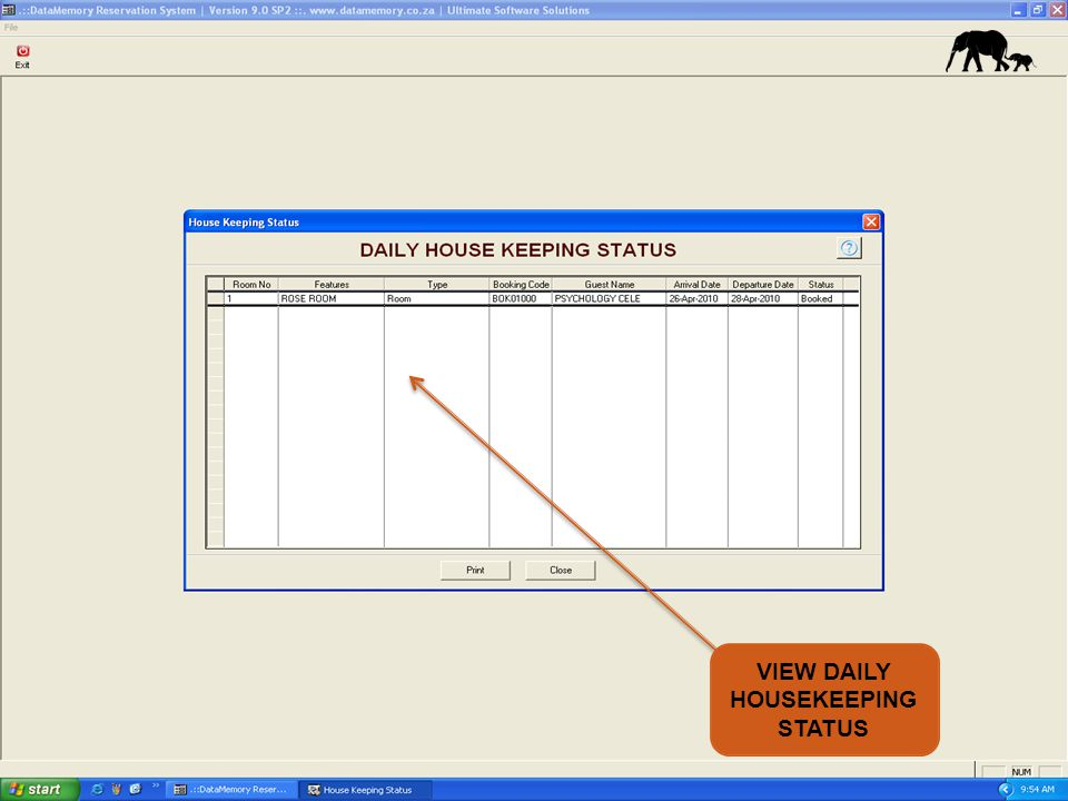 VIEW DAILY HOUSEKEEPING STATUS