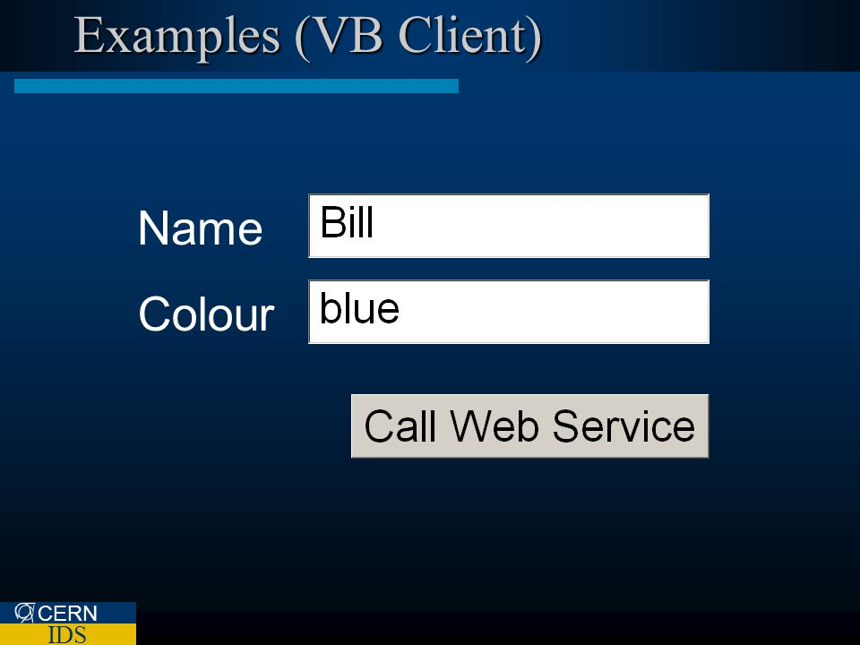 CERN IDS Examples (VB Client) Name Colour