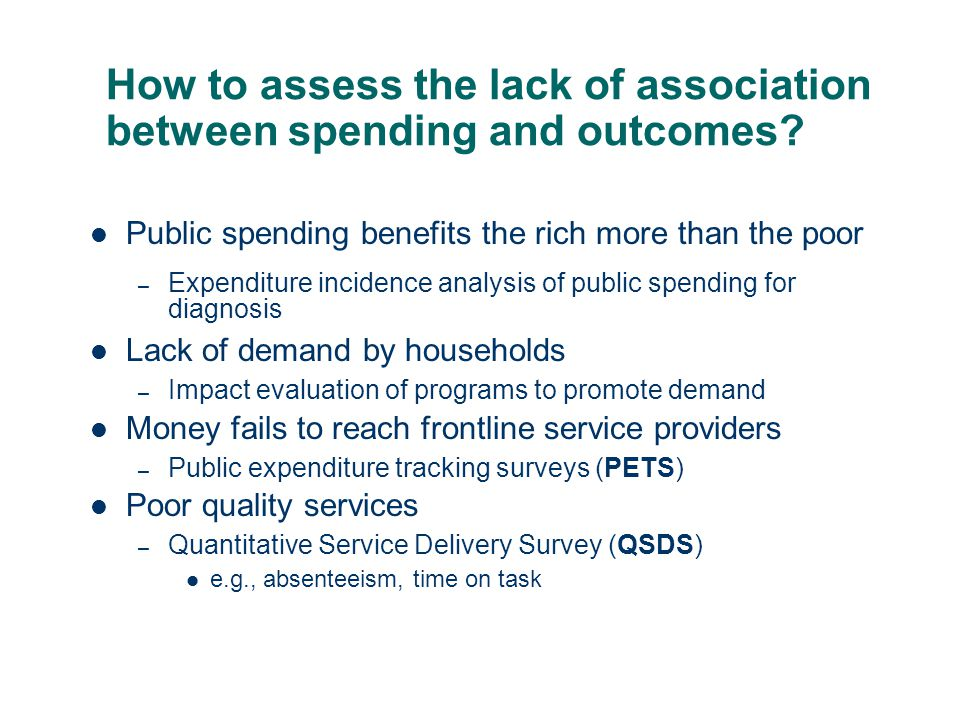 How to assess the lack of association between spending and outcomes.