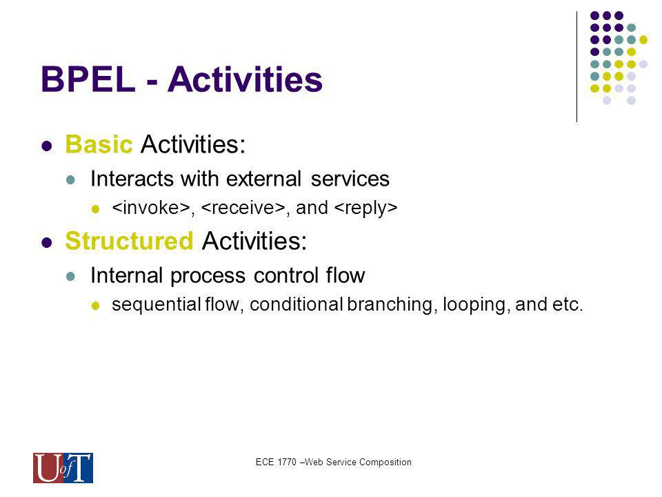 ECE 1770 –Web Service Composition BPEL - Activities Basic Activities: Interacts with external services,, and Structured Activities: Internal process control flow sequential flow, conditional branching, looping, and etc.