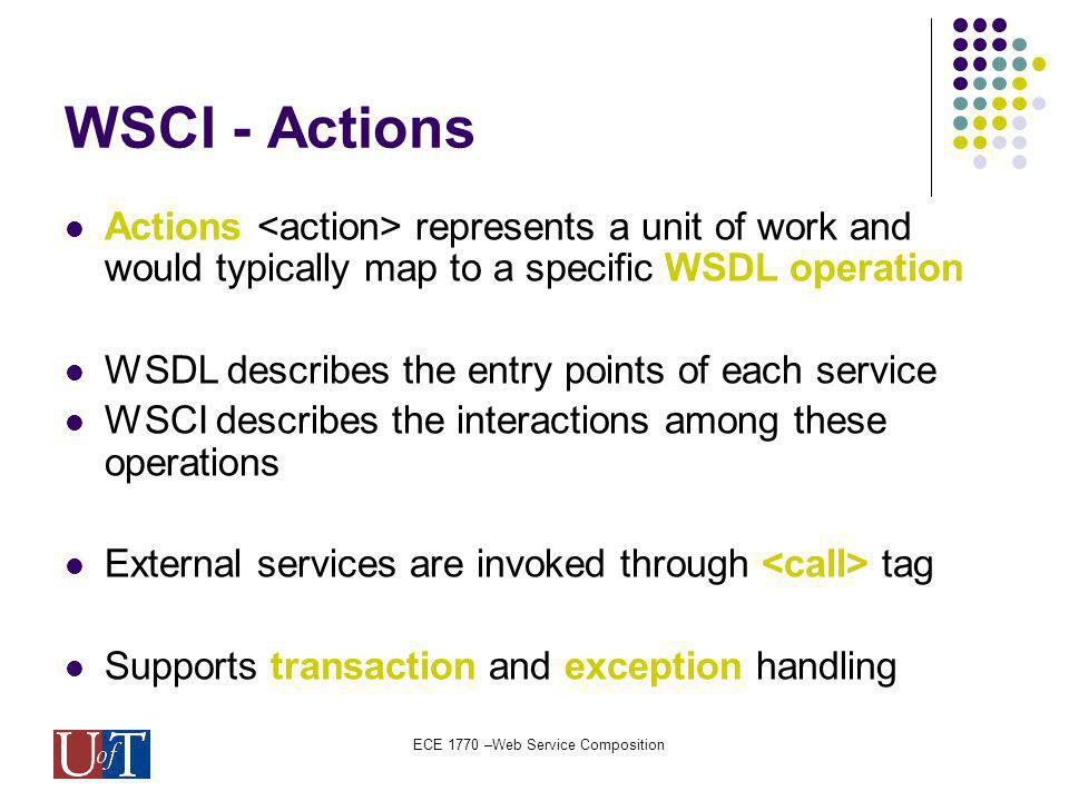 ECE 1770 –Web Service Composition WSCI - Actions Actions represents a unit of work and would typically map to a specific WSDL operation WSDL describes the entry points of each service WSCI describes the interactions among these operations External services are invoked through tag Supports transaction and exception handling