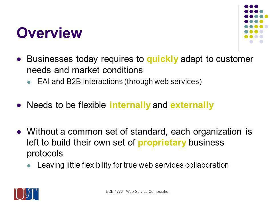 ECE 1770 –Web Service Composition Overview Businesses today requires to quickly adapt to customer needs and market conditions EAI and B2B interactions (through web services) Needs to be flexible internally and externally Without a common set of standard, each organization is left to build their own set of proprietary business protocols Leaving little flexibility for true web services collaboration