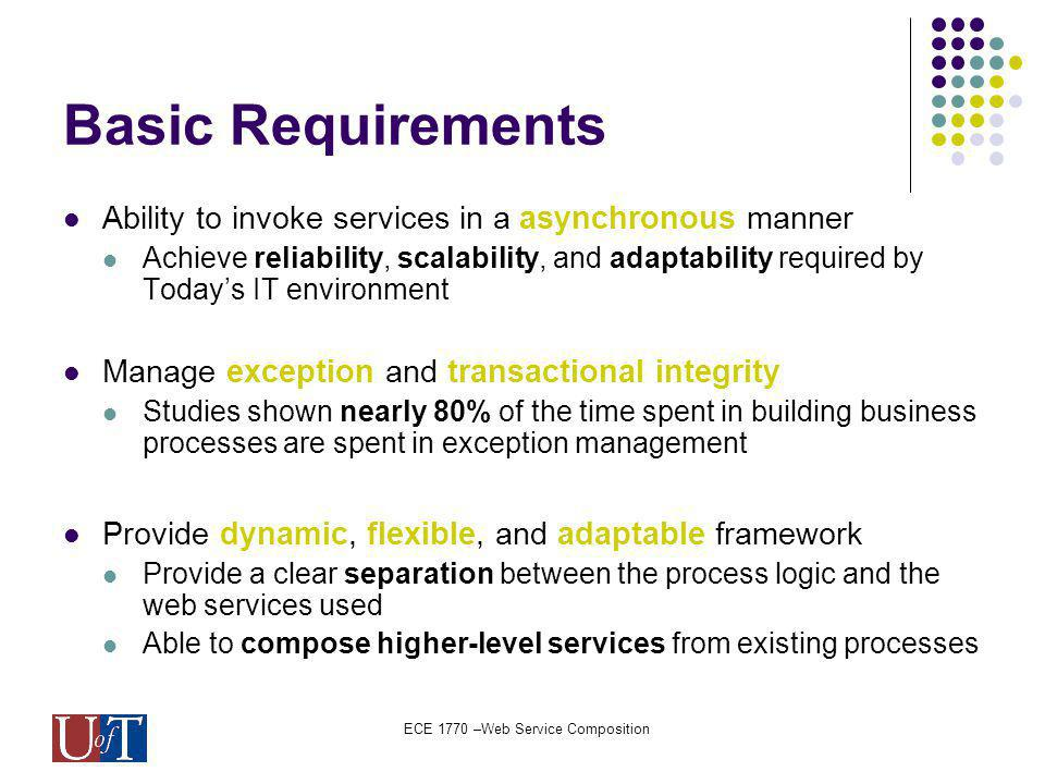 ECE 1770 –Web Service Composition Basic Requirements Ability to invoke services in a asynchronous manner Achieve reliability, scalability, and adaptability required by Todays IT environment Manage exception and transactional integrity Studies shown nearly 80% of the time spent in building business processes are spent in exception management Provide dynamic, flexible, and adaptable framework Provide a clear separation between the process logic and the web services used Able to compose higher-level services from existing processes