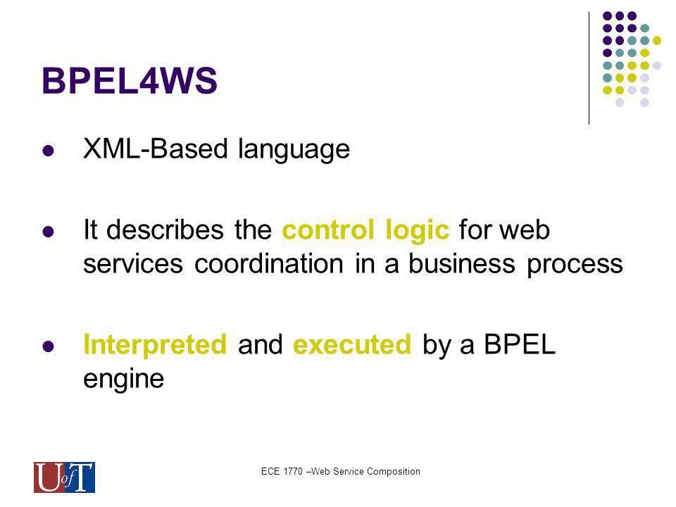 ECE 1770 –Web Service Composition BPEL4WS XML-Based language It describes the control logic for web services coordination in a business process Interpreted and executed by a BPEL engine