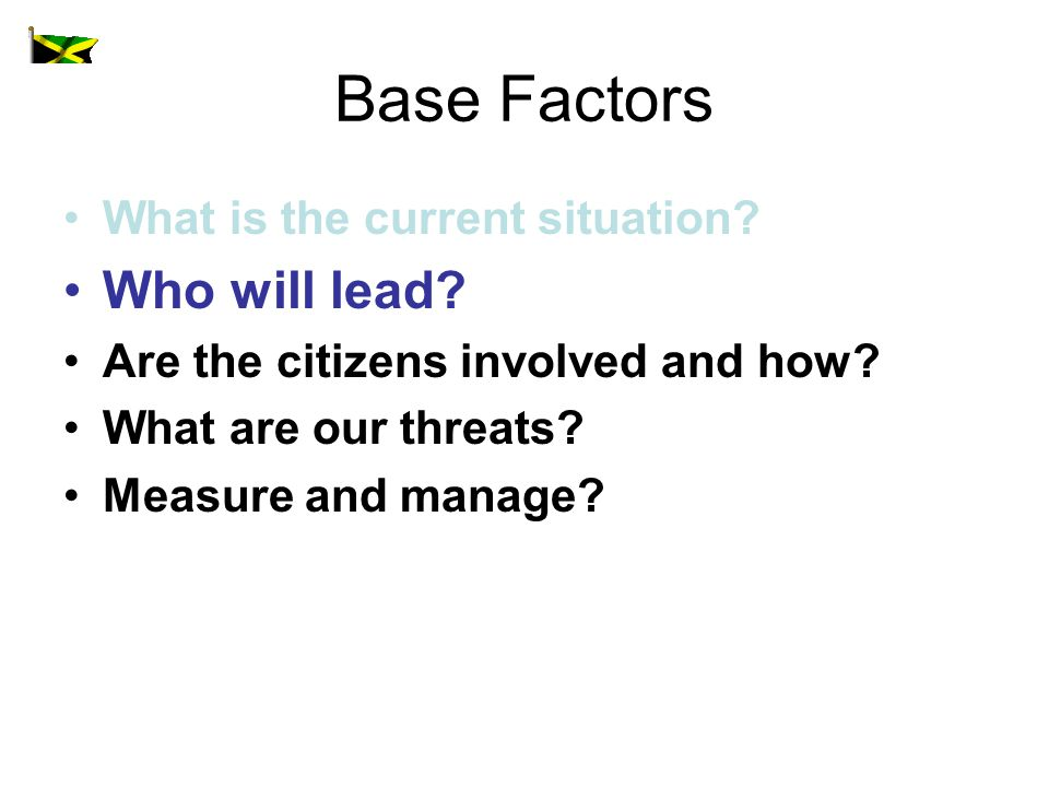 Base Factors What is the current situation. Who will lead.