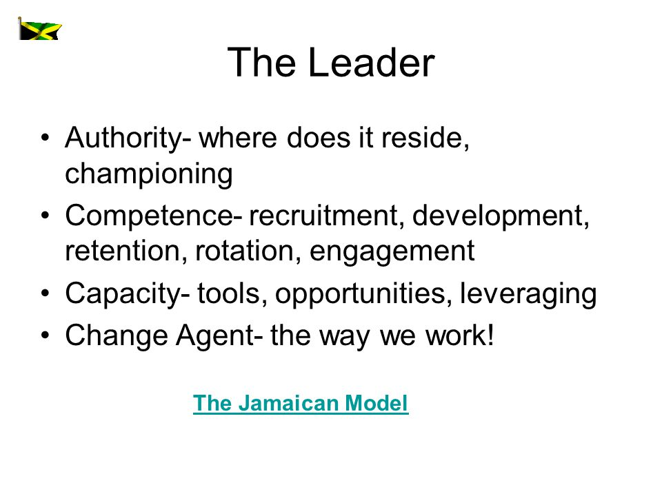The Leader Authority- where does it reside, championing Competence- recruitment, development, retention, rotation, engagement Capacity- tools, opportunities, leveraging Change Agent- the way we work.