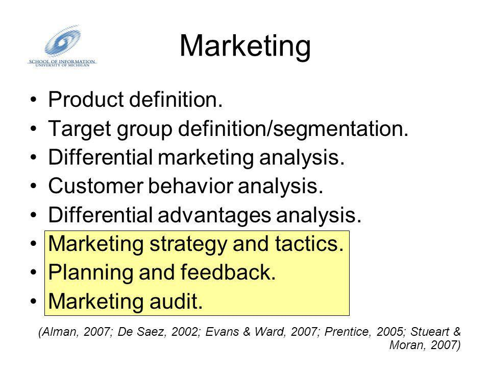 Marketing Product definition. Target group definition/segmentation.
