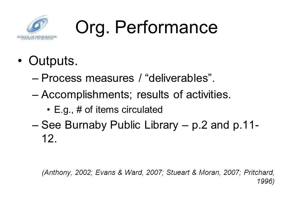 Org. Performance Outputs. –Process measures / deliverables.