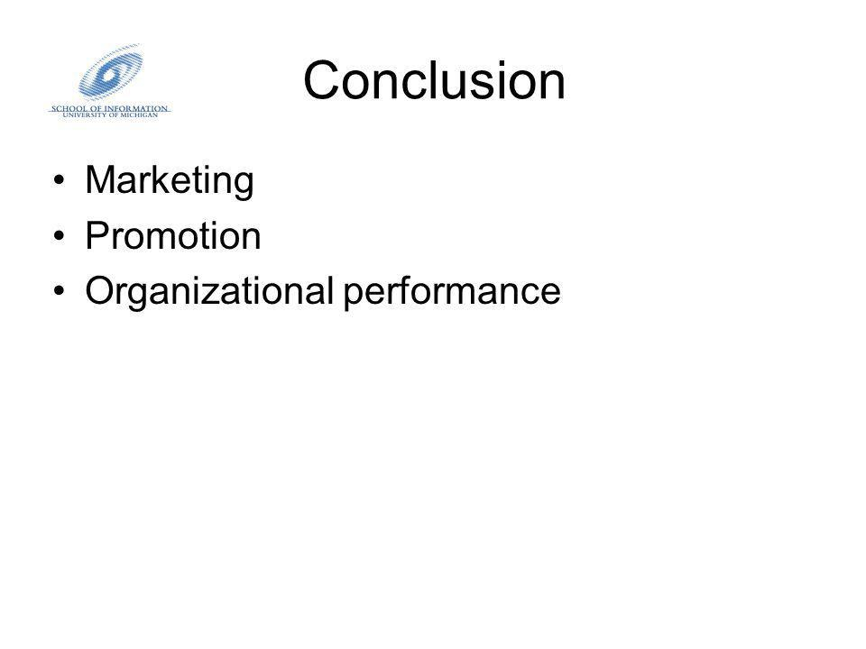 Conclusion Marketing Promotion Organizational performance