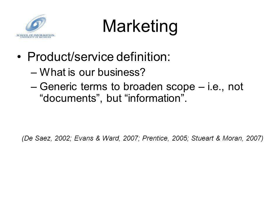 Marketing Product/service definition: –What is our business.