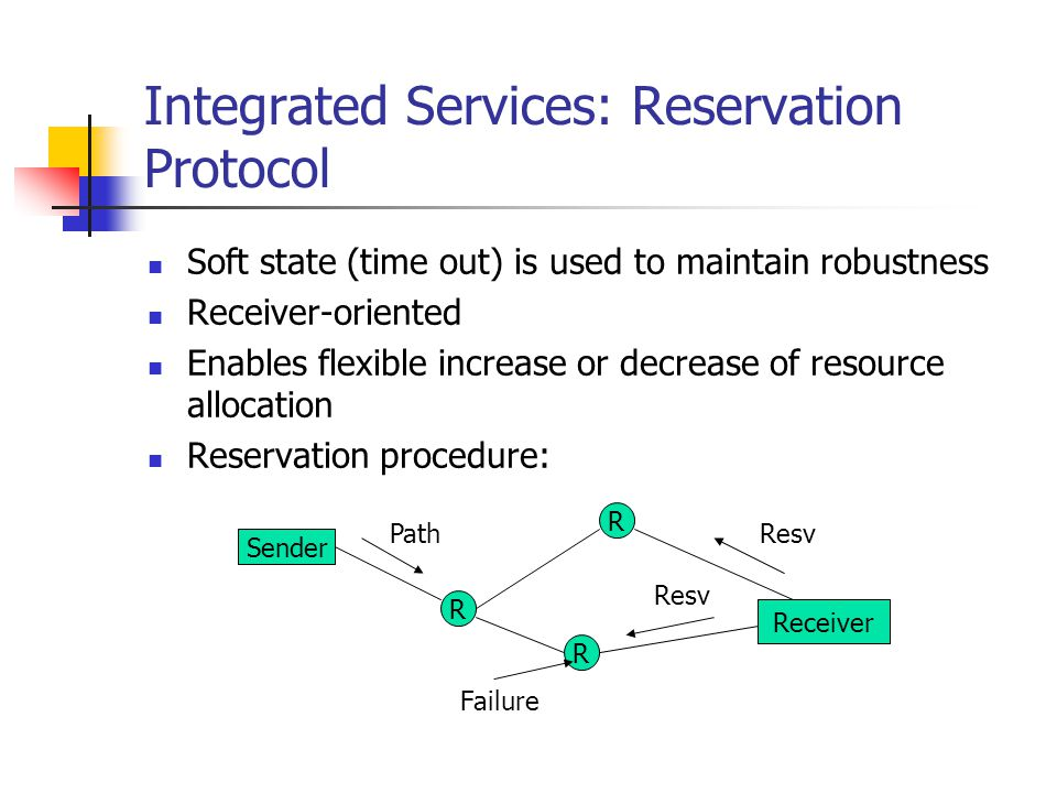 Integrated Services: Reservation Protocol Soft state (time out) is used to maintain robustness Receiver-oriented Enables flexible increase or decrease of resource allocation Reservation procedure: Sender R R R Receiver Path Resv Failure Resv