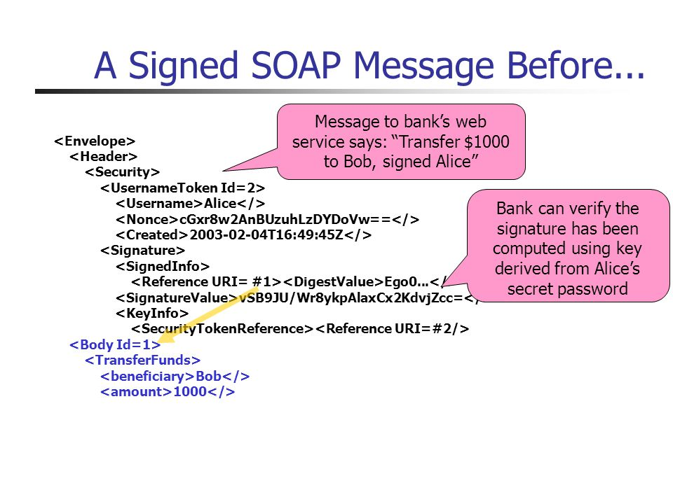 A Signed SOAP Message Before... Alice cGxr8w2AnBUzuhLzDYDoVw== 2003-02-04T16:49:45Z Ego0...