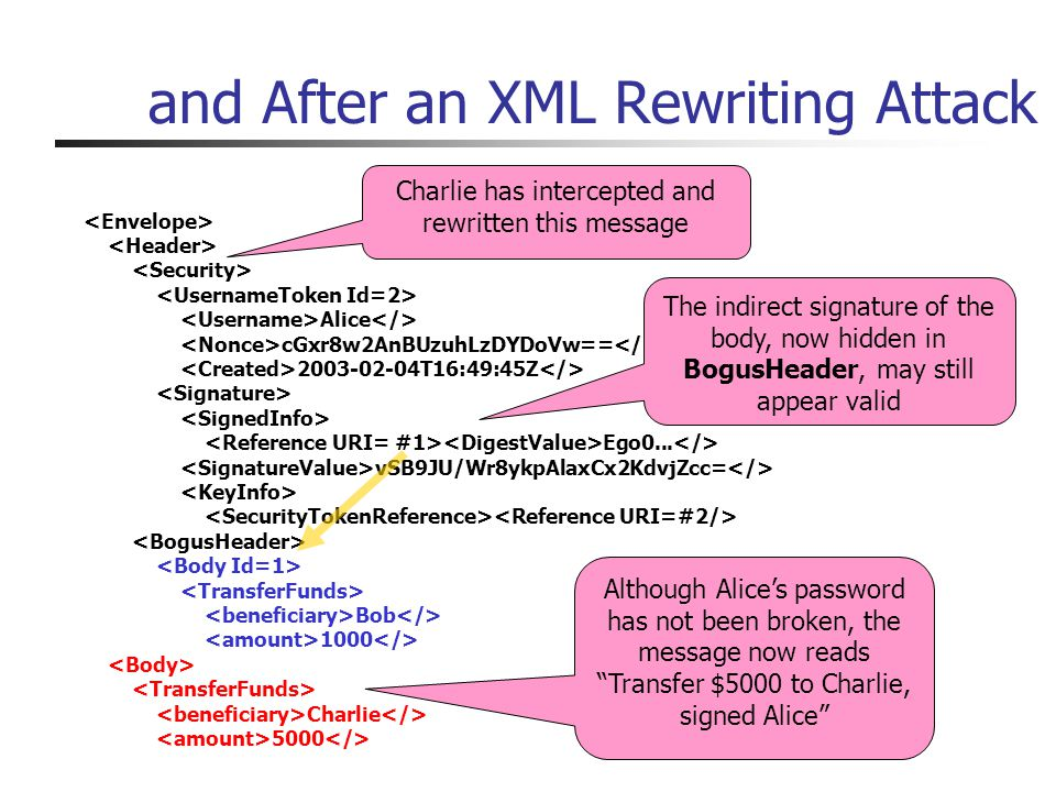 and After an XML Rewriting Attack Alice cGxr8w2AnBUzuhLzDYDoVw== 2003-02-04T16:49:45Z Ego0...