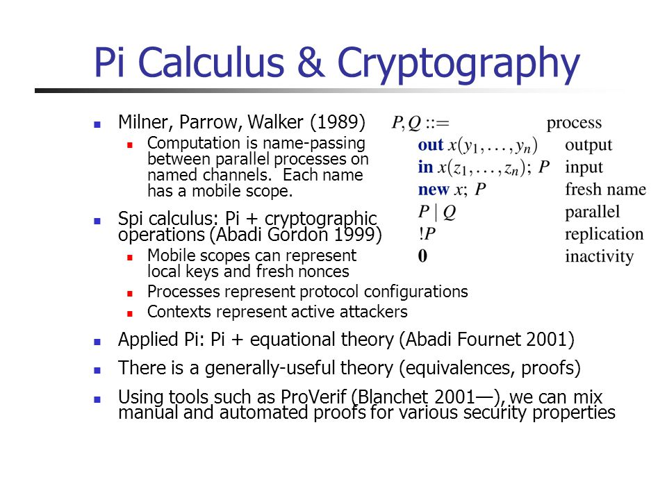 Pi Calculus & Cryptography Milner, Parrow, Walker (1989) Computation is name-passing between parallel processes on named channels.