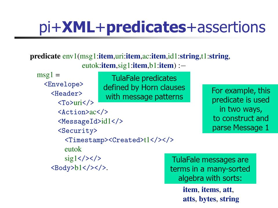 pi+XML+predicates+assertions For example, this predicate is used in two ways, to construct and parse Message 1 TulaFale messages are terms in a many-sorted algebra with sorts: TulaFale predicates defined by Horn clauses with message patterns