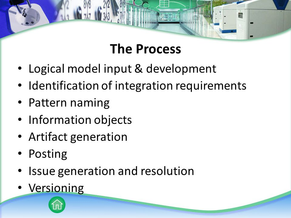The Process Logical model input & development Identification of integration requirements Pattern naming Information objects Artifact generation Posting Issue generation and resolution Versioning