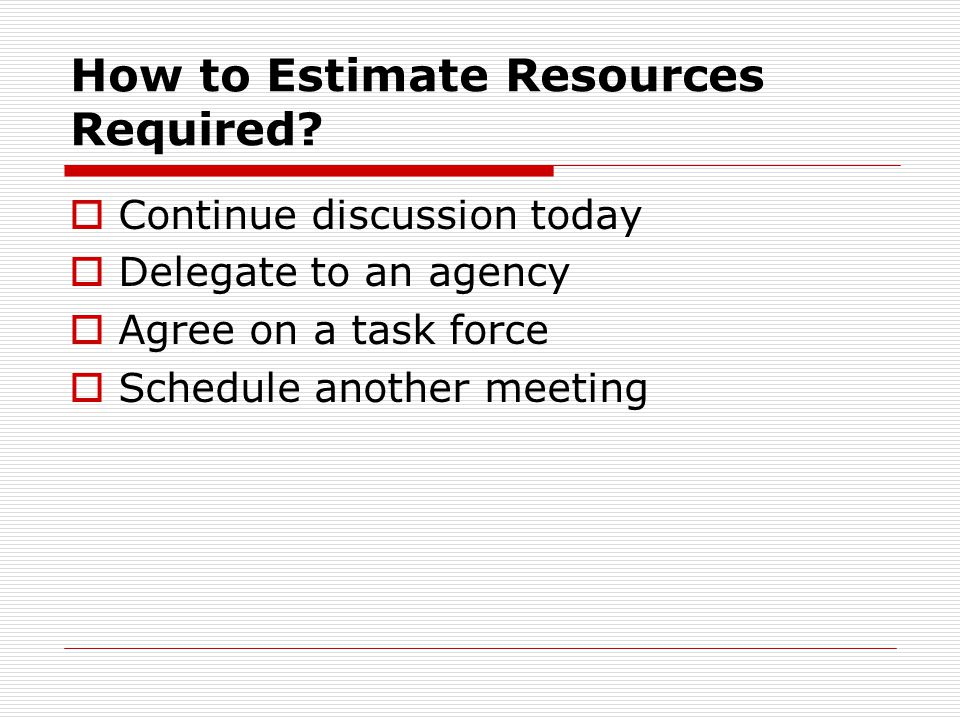 How to Estimate Resources Required.