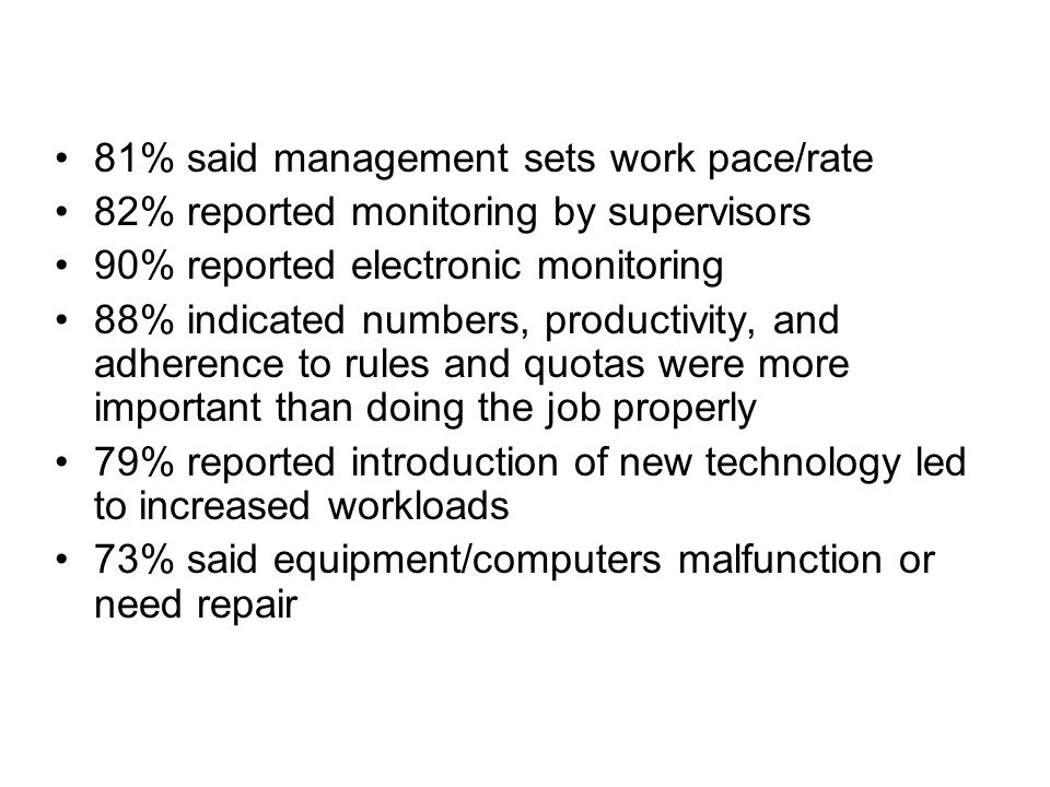 81% said management sets work pace/rate 82% reported monitoring by supervisors 90% reported electronic monitoring 88% indicated numbers, productivity, and adherence to rules and quotas were more important than doing the job properly 79% reported introduction of new technology led to increased workloads 73% said equipment/computers malfunction or need repair