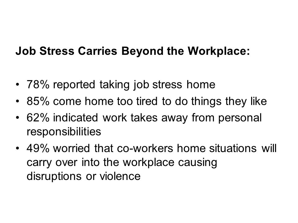 Job Stress Carries Beyond the Workplace: 78% reported taking job stress home 85% come home too tired to do things they like 62% indicated work takes away from personal responsibilities 49% worried that co-workers home situations will carry over into the workplace causing disruptions or violence