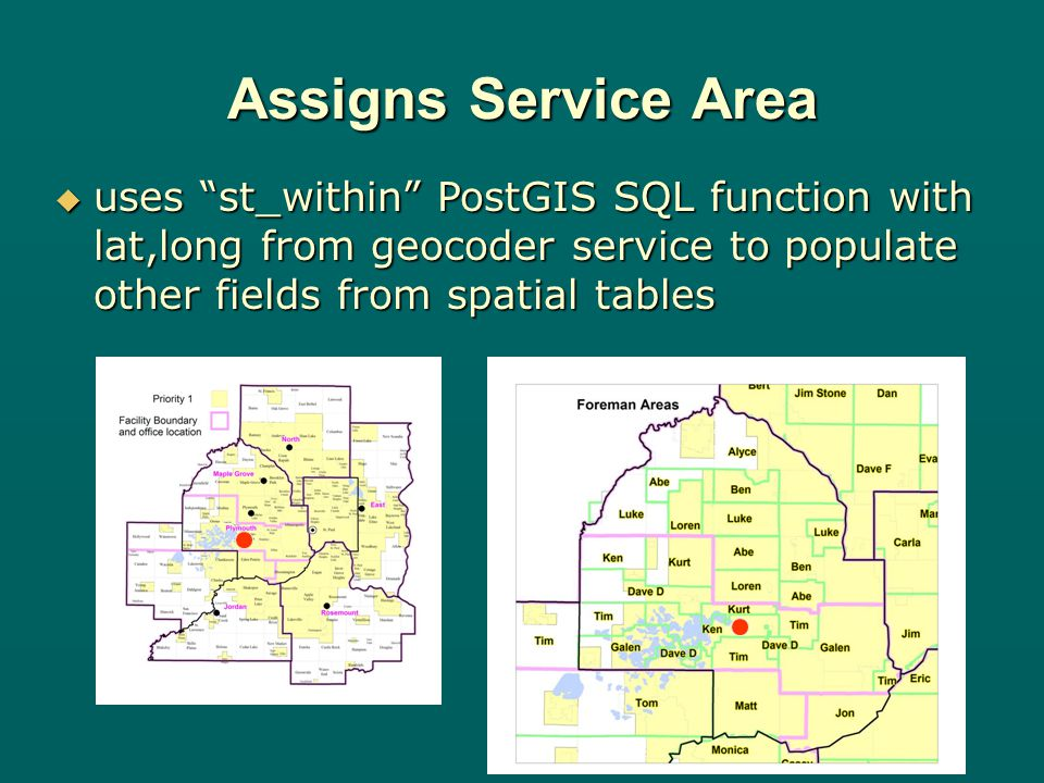 Assigns Service Area uses st_within PostGIS SQL function with lat,long from geocoder service to populate other fields from spatial tables uses st_within PostGIS SQL function with lat,long from geocoder service to populate other fields from spatial tables