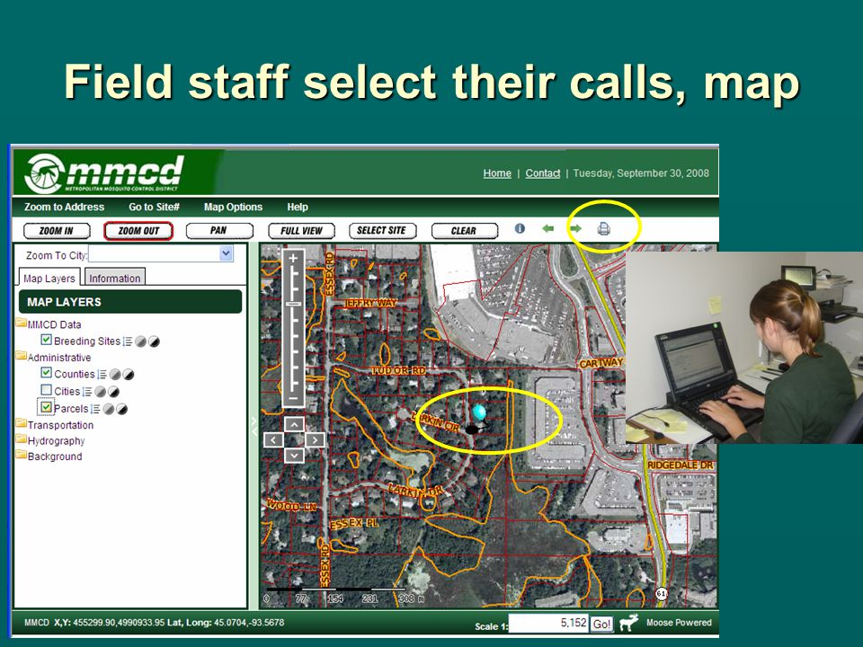 Field staff select their calls, map