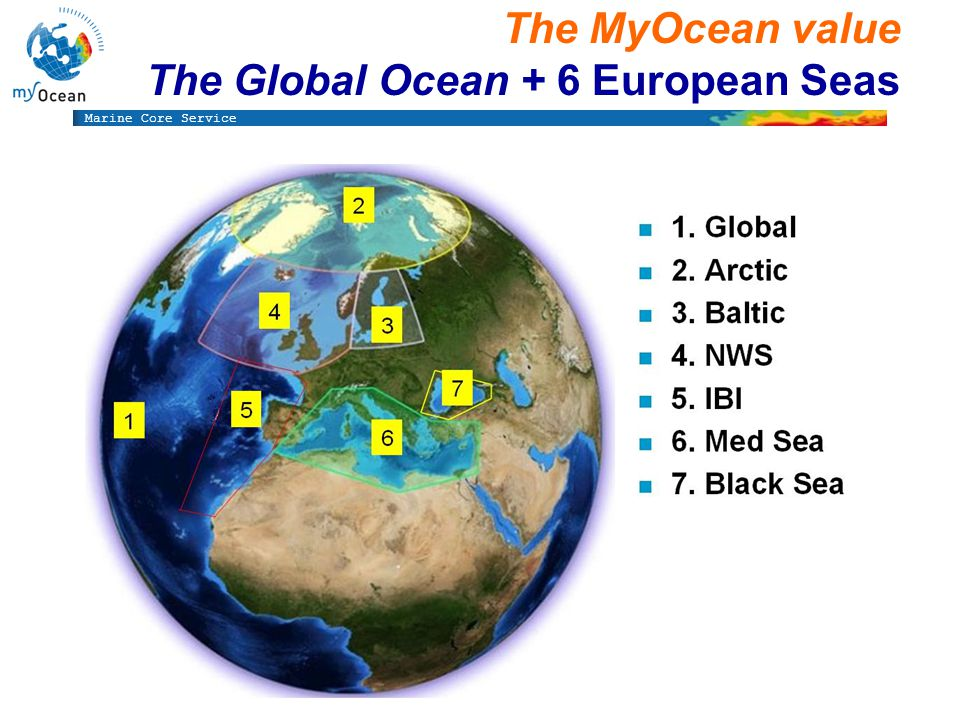Marine Core Service The MyOcean value The Global Ocean + 6 European Seas
