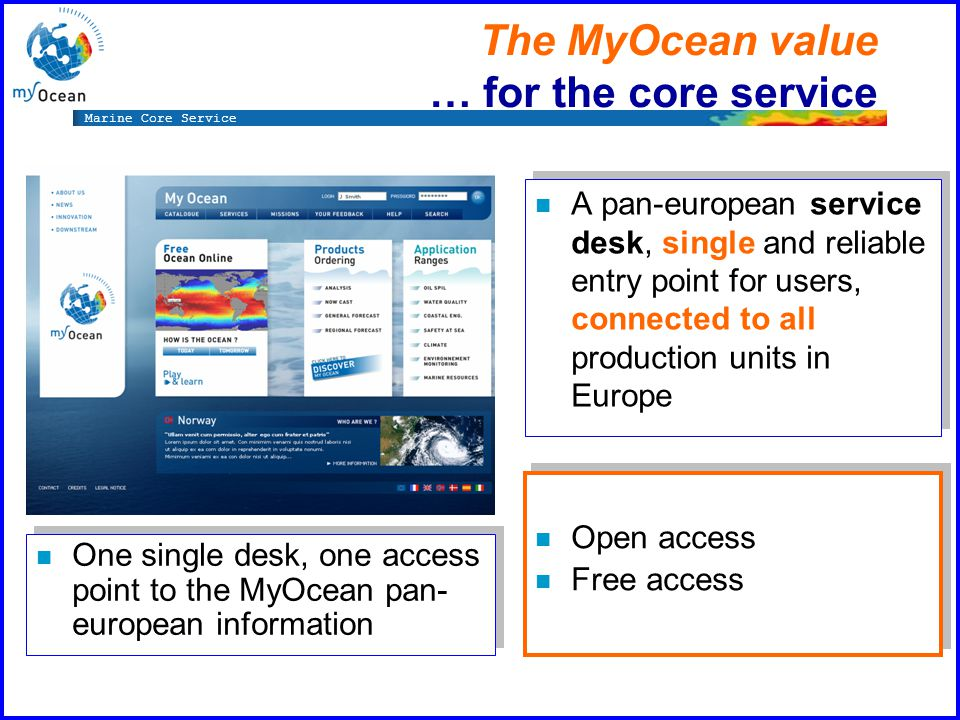Marine Core Service The MyOcean value … for the core service n A pan-european service desk, single and reliable entry point for users, connected to all production units in Europe n One single desk, one access point to the MyOcean pan- european information n Open access n Free access n Open access n Free access