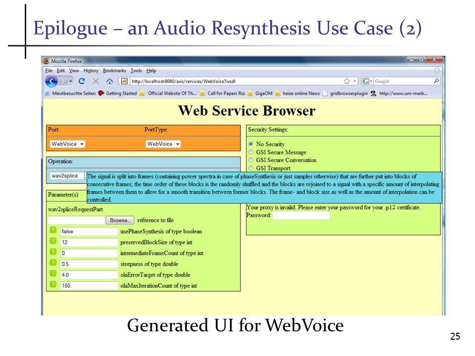 Epilogue – an Audio Resynthesis Use Case (2) Generated UI for WebVoice 25