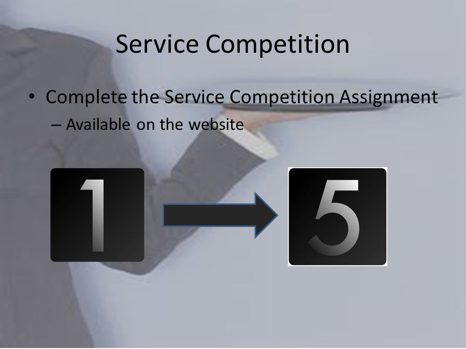 Service Competition Complete the Service Competition Assignment – Available on the website