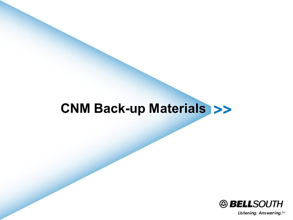 CNM Back-up Materials
