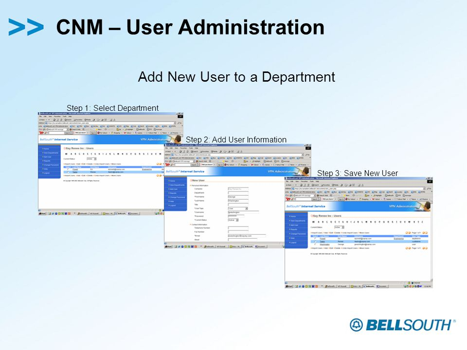 CNM – User Administration Step 1: Select Department Step 2: Add User Information Step 3: Save New User Add New User to a Department