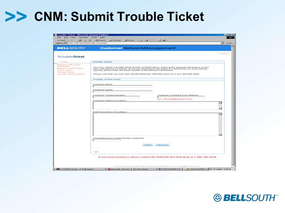 CNM: Submit Trouble Ticket
