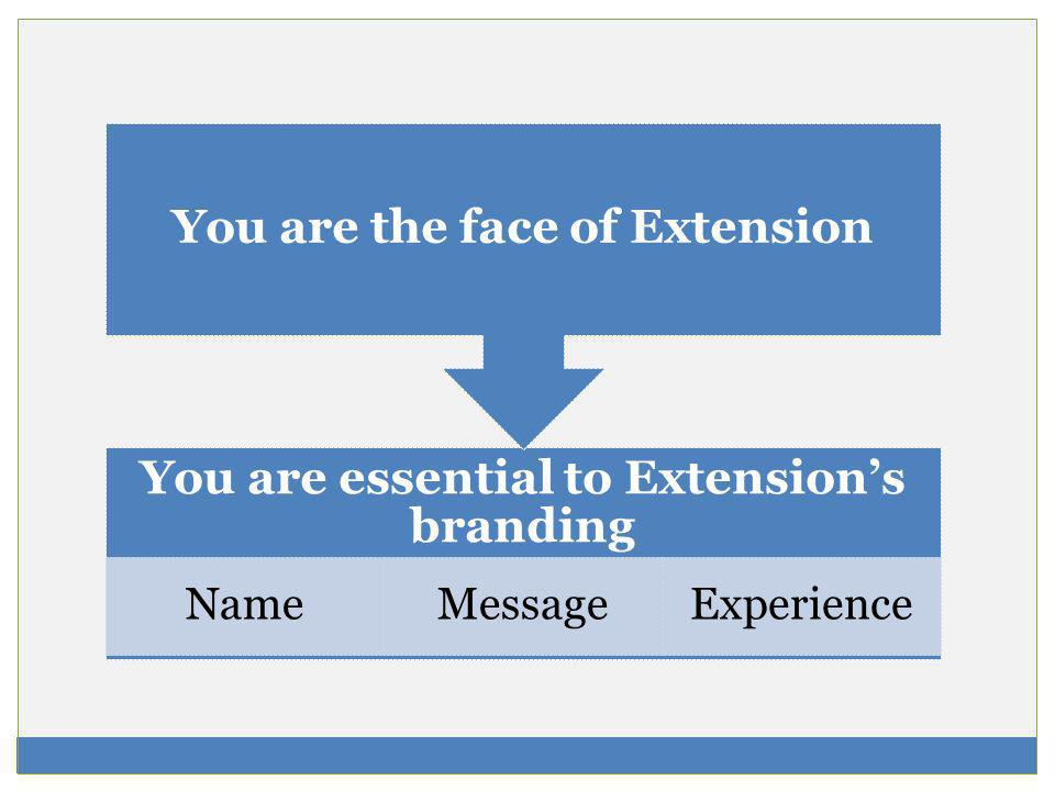 You are essential to Extensions branding NameMessageExperience You are the face of Extension