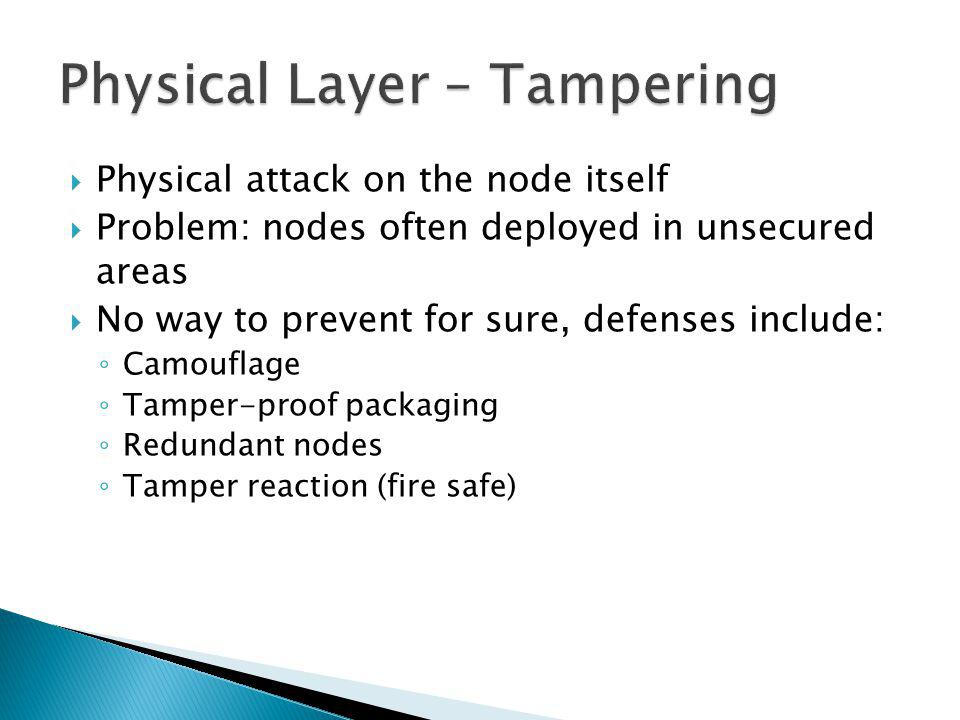 Physical attack on the node itself Problem: nodes often deployed in unsecured areas No way to prevent for sure, defenses include: Camouflage Tamper-proof packaging Redundant nodes Tamper reaction (fire safe)