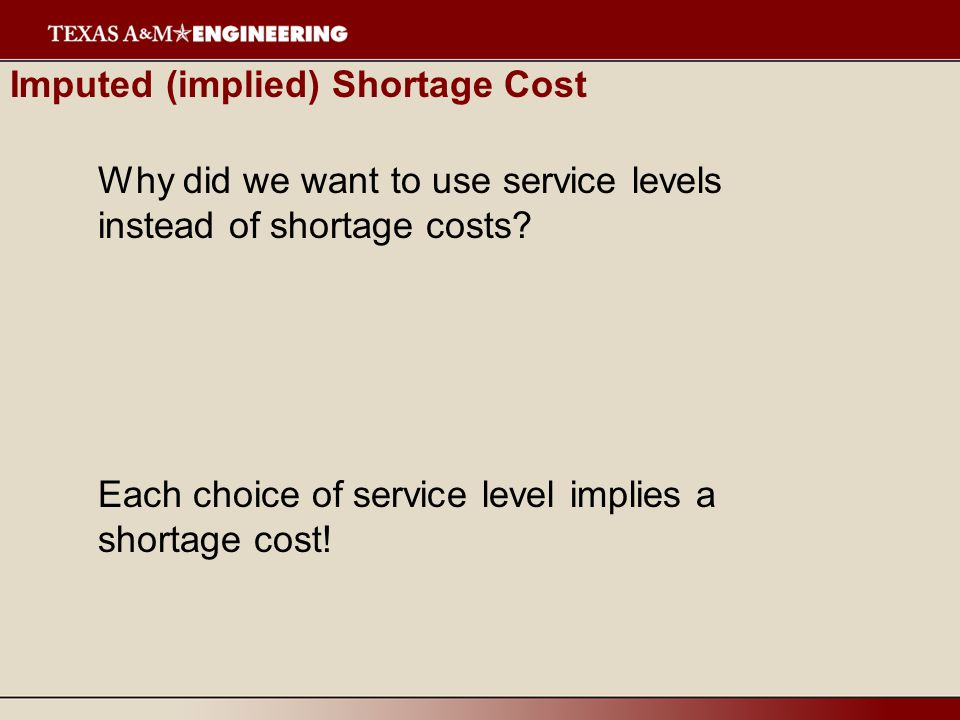 Imputed (implied) Shortage Cost Why did we want to use service levels instead of shortage costs.