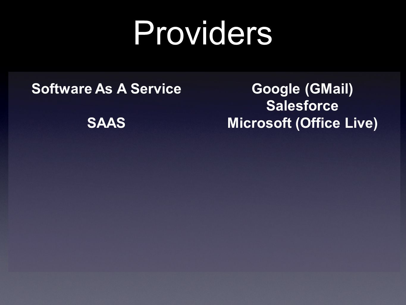 Providers Software As A Service SAAS Google (GMail) Salesforce Microsoft (Office Live)