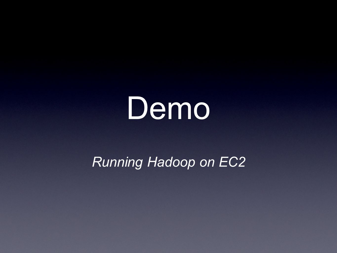 Running Hadoop on EC2